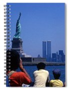View Of Statue And Towers Spiral Notebook