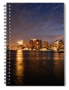 View Of The Boston Waterfront At Night Spiral Notebook