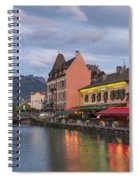 View Of Thiou River In Annecy Spiral Notebook