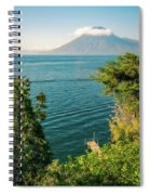 View Of Volcano San Pedro With A Crown Of Clouds In Guatemala Spiral Notebook