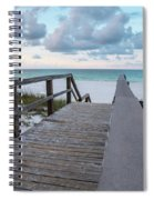 View Of White Sand And Blue Ocean From Wooden Boardwalk Spiral Notebook