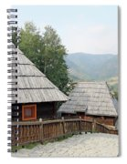 Village With Wooden Cabin Log On Mountain Spiral Notebook