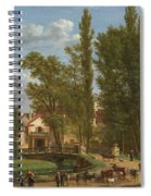Villagers And Animals In A Landscape Beside A Bridge At The Entrance Of A Village Spiral Notebook