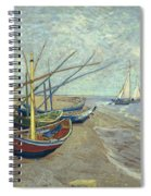 Vincent Van Gogh  Fishing Boats On The Beach At Les Saintes Maries De La Mer Spiral Notebook