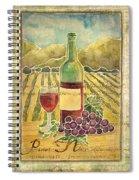 Vineyard Pinot Noir Grapes N Wine - Batik Style Spiral Notebook