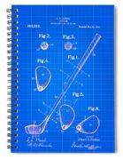 Vintage 1910 Golf Club Patent Blue Print Spiral Notebook