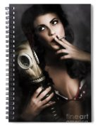 Vintage Army Pinup Girl Holding Gas Mask Spiral Notebook