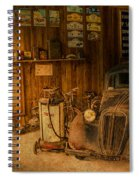 Vintage Auto Repair Garage With Truck And Signs Spiral Notebook