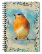 Vintage Bluebird With Flourishes Spiral Notebook