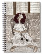 Vintage Button Angel Doll On Crocheted Spread Spiral Notebook