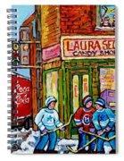 Vintage Candy Store Classic Coca Cola Truck Winter Scene Hockey Art Canadian Art Carole Spandau      Spiral Notebook