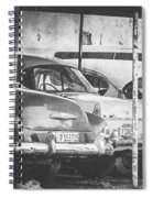 Vintage Cars At Night Bw Spiral Notebook
