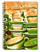 Vintage Cellar Tea Cups Painterly Spiral Notebook
