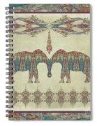 Vintage Elephants Kashmir Paisley Shawl Pattern Artwork Spiral Notebook