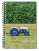Vintage Ford Blue And White Tractor On A Farm Spiral Notebook