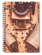 Vintage Grinder With Sacks Of Coffee Beans Spiral Notebook