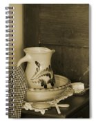 Vintage Grooming Set And Stoneware Water Pitcher In Sepia Tones Spiral Notebook