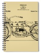 Vintage Harley-davidson Motorcycle 1919 Patent Artwork Spiral Notebook