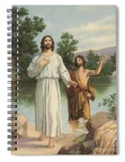 Vintage Illustration Of The Baptism Of Christ Spiral Notebook
