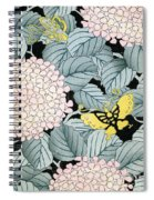 Vintage Japanese Illustration Of A Hydrangea Blossoms And Butterflies Spiral Notebook