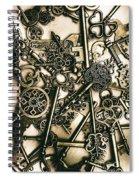 Vintage Keys On Wooden Table Spiral Notebook