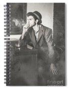 Vintage Man In Hat Smoking Cigarette In Jazz Club Spiral Notebook