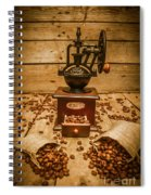 Vintage Manual Grinder And Coffee Beans Spiral Notebook