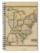 Antique Map Of United States Spiral Notebook
