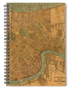 Vintage New Orleans Louisiana Street Map 1919 Retro Cartography Print On Worn Canvas Spiral Notebook