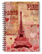 Vintage Paris And Roses Spiral Notebook