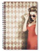 Vintage Pinup Fashion Model In Womens Sunglasses Spiral Notebook