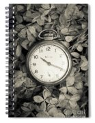 Vintage Pocket Watch Over Flowers Spiral Notebook
