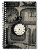 Vintage Pocket Watch Over Old Clocks Spiral Notebook