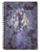 Vintage Portrait. Elegant Girl Wearing Lace Veil Spiral Notebook