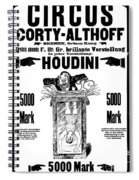 Vintage Poster Advertising A Performance By Houdini, 1922 Spiral Notebook