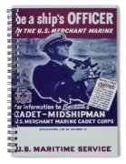 Vintage Poster - Be A Ship's Officer Spiral Notebook