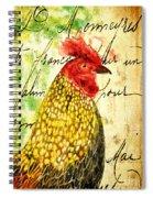 Vintage Rooster Portrait    Spiral Notebook
