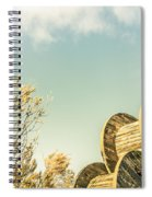 Vintage Spools And Farmyard Skies Spiral Notebook