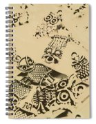 Vintage Toned Owls Spiral Notebook