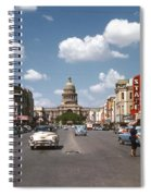 Vintage View Downtown Austin Looking Up Congress Avenue In Front Spiral Notebook