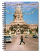 Vintage View Of The Texas State Capitol And Christmas Decorations Strung Along Congress Avenue From December 1960 Spiral Notebook