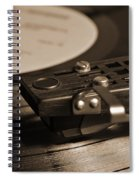 Vinyl Record Playing On A Turntable In Sepia Spiral Notebook