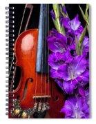 Violin And Purple Glads Spiral Notebook
