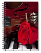 Violin And Rose On Piano Spiral Notebook