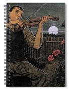 Violin Player To The Moon Spiral Notebook