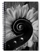 Violin Scroll And Sunflower In Black And White Spiral Notebook