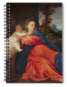 Virgin And Infant With Saint John The Baptist And Donor Spiral Notebook