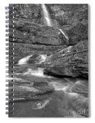 Virginia Falls Glacier Cascades - Black And White Spiral Notebook