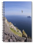 Visitors Admire Celtic Monastery, Skellig Michael, Looking To Little Skellig, County Kerry, Ireland  Spiral Notebook