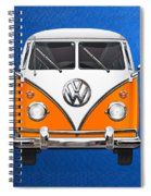 Volkswagen Type - Orange And White Volkswagen T 1 Samba Bus Over Blue Canvas Spiral Notebook